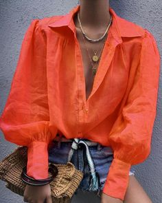 Women Blouse Fashion Lantern Sleeve Loose Blouse V Neck Casual Office Lady Shirts Tops Autumn Womens Clothing Top Femme, Orange / XXL Casual Chic, Casual Art, Hijab Casual, Casual Office, Comfy Casual, Work Casual, Smart Casual, Business Casual, V Neck Blouse