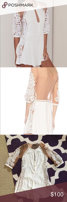 NEW! For Love & Lemons White Valentina Romper smooth rayon crepe fabric with crochet lace trimming with nude tulle back, keyhole and buttons at neckline, side zipper closure, model wears size small For Love and Lemons Pants Jumpsuits & Rompers