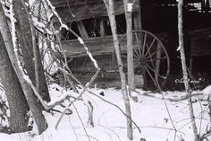 Rustic Barn wagon wheel black and white snow 8x10 by Woodzart, $28.00