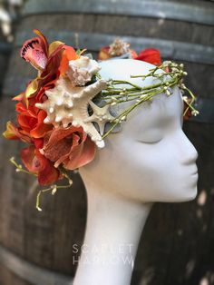 Starfish Mermaid crown - mermaid costume - photoshoot - wreath - halo flower crown - fantasy - siren. READY TO SHIP. by ScarletHarlow on Etsy