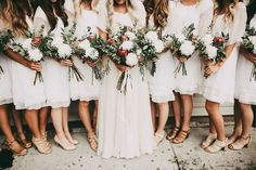 Photo collection by India Earl bohemian wedding party with modest wedding dress and beautiful flower bouquet