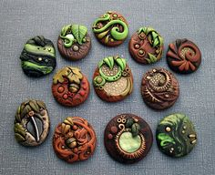 Woodland Cabochons Set of 12 by MandarinMoon, via Flickr