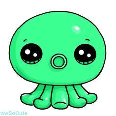 Rainbow Octopus #2 Kawaii Disney, Cute Kawaii Girl, Kawaii Art, Kawaii Girl Drawings, Cartoon Drawings, Cute Animal Drawings, Cute Drawings, Plastic Fou, Easy Doodles Drawings
