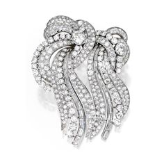 Platinum and Diamond Double-Clip Brooch, France | Lot | Sotheby's