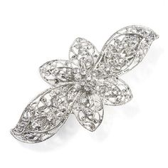 Silver Lace and Rhinestone Butterfly Barrette | Icing