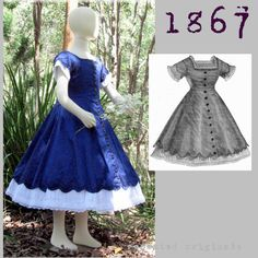 Victorian Reproduction PDF Pattern  1860's  by RepeatedOriginals Alice's Dress!