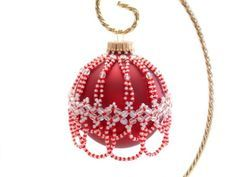Free Beaded Ornament Cover Patterns | Candy Cane Bead Christmas Ornament Cover | BeadsBloomsnBeauties ...