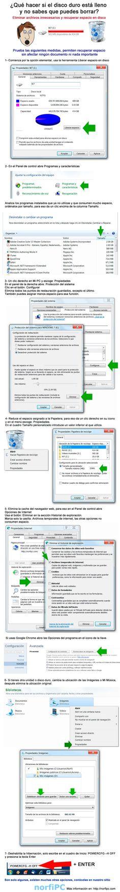 Como eliminar archivos innecesarios en Windows y recuperar espacio en disco, infografía que muestra y explica las medidas elementales, con la explicación paso por paso de cada una de ellas.