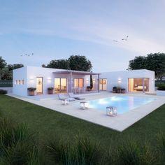 Pool House Plans, Dream House Plans, Modern House Plans, House Design Photos, Small House Design, Small Villa, Modern Villa Design, Contemporary Design, House Construction Plan