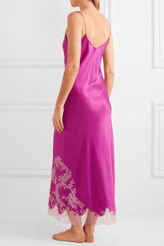 Carine Gilson - Lace-trimmed Silk-twill Nightdress - Magenta -