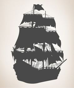 Vinyl Wall Decal Sticker Pirate Ship Silhouette 56inX36in item ...