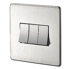 Crabtree Platinum DP Switched Plug Socket Satin Chrome with White Inserts Modern Light Switches, Light Switches And Sockets, Chrome Light Switch, Basic Tools, 3d Printer Designs, Plate Design, Plugs, Kitchen Lighting, Lighting Ideas