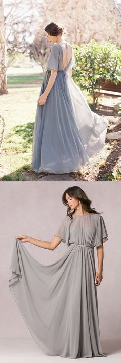 Flutter Short Sleeved A-line Chiffon Pleated Detail Long Bridesmiad Dress with Ribbon