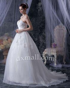 Drop Waist Wedding Dresses Sweetheart Court Train Organza Satin Ivory 010010700496