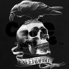 This skull and crow Expendables design not only makes a sick tattoo but kills as an Expendables t-shirt, hoodie, poster and more (and less painful to boot).