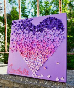 30 x 30 CM Personalized Ombre Butterfly Heart/ 3D Butterfly Wall Art / Nursery Decor / Personalized Childrens Art - Made to Order via Etsy