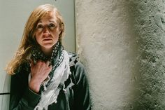 Casey Turner in the Dramatic Repertory Company production of MY NAME IS RACHEL CORRIE.  Photo by Emily Carter Delamater.