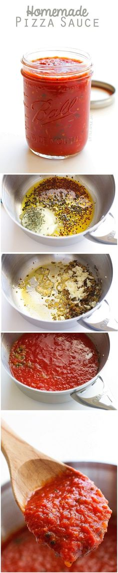 Homemade Pizza Sauce - Made with simple ingredients that are easy to find. This sauce freezes well too! #pizzasauce #tomatosauce #homemade   Littlespicejar.com