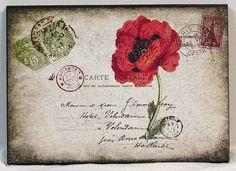 Ooooooh, breathless... Vintage French Postcard Red Poppy Wooden by NikkisSecretCloset, $9.95