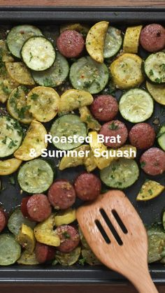 Healthy Dinner Recipes Discover Sheet Pan Roasted Sausage & Summer Squash The perfect one-pan dinner! Smoked sausage is tossed with fresh summer squash zucchini and California Garlic Pepper for an easy weeknight meal. Summer Sausage Recipes, Healthy Sausage Recipes, Smoked Sausage Recipes, Bratwurst Recipes, Healthy Dinner Recipes, Smoked Sausage Dinner Recipes, Turkey Kielbasa Recipes, Chicken Recipes, Per Diem