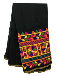 By-half-meter-Cotton-kutch-work-Black-fabric-dress-material-kurti-blouse