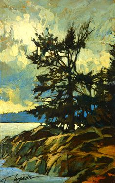 Island Dwellers II, by David Langevin Abstract Tree Painting, Light Painting, Painting & Drawing, Abstract Art, Landscape Art, Landscape Paintings, Landscapes, Jewish Art, Canadian Artists