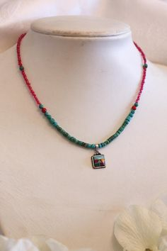 Zuni Inlay Sterling Pendant Handmade Dainty Choker Turquoise