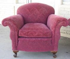 1930s maroon chenille armchair. I love the lines AND the fabric. I wish someone would make these again.