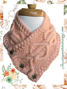 Peach Womens Neckwarmer Cable Twist Handknit Rose Buttons Caron Simply Soft. Truly an elegant and soft design with lots of cables throughout.  This womens neckwarmer features three Vintage metal Rose buttons in bronze which adds just the perfect touch to this scarf. The rich light country peach color is from Caron Simply Soft and is so inviting.%2