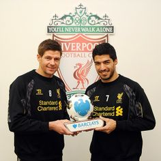 Steven Gerrard and Luis Suarez share the Barclays Premier League Player of the Month award