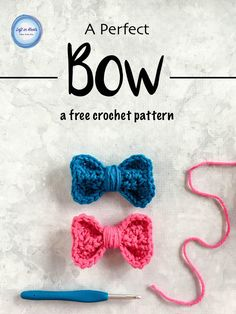 Use this free crochet pattern to make a bow perfect for adding that finishing touch you need for a bag, hat, ear warmer and more!  This fast embellishment pattern is also a great stash buster to make hair clips to sell at craft fairs!