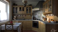 Software: Blender Number of images: 3 Creation date: Small kitchen design and visualisations. Small Rustic Kitchens, Cool Kitchens, Best Kitchen Designs, French Country, Liquor Cabinet, Kitchen Cabinets, Storage, Table, Google