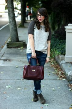 #remixrewearrestyle boots inspiration: embellished sweatshirt & colored bag