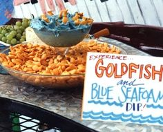 goldfish and blue colored onion dip