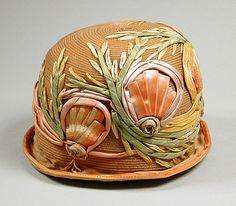 Orange straw cloche hat with variegated satin ribbon embellishment, by Bijou, c. 1925.