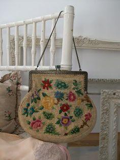 Vintage needlepoint bag for sale at www.lavenderhousevintage.co.uk #vintage #lavenderhousevintage