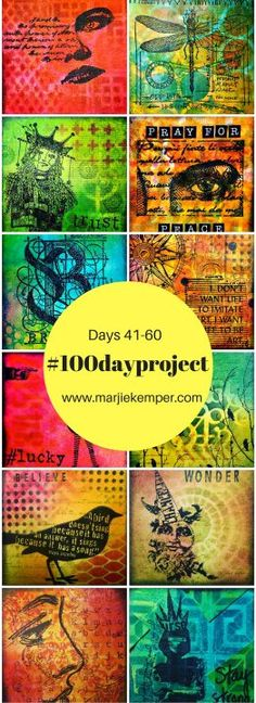 The #100dayproject ~ Part 3 - art journaling techniques on small squares