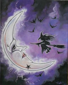 Lavender Skies Witch Moon-Acrylic sold