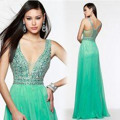 2016 prom dresses v neck sleeveless beaded crystal a line chiffon customize 2016 new fashion vestido de festa longo