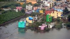 An aerial view shows a flood affected area in Chennai, India, December 3, 2015.