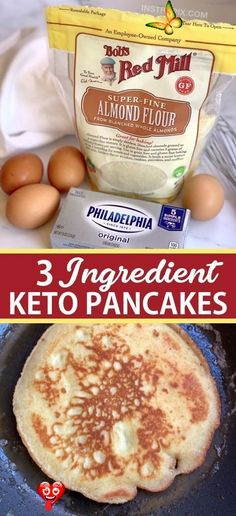 The BEST 3 Ingredient Keto Pancakes (Quick & Easy) The BEST 3 Ingredient Keto Pancakes (Quick & Easy) This super easy low carb pancake recipe is made with just almond flour, cream cheese and eggs. It's my new favorite keto breakfast recipe! - Looking for easy healthy keto breakfast ideas? These quick and easy 3 ingredient keto pancakes are made with simple ingredients: almond flour, cream cheese and eggs! Great for beginners or busy mornings. If you're on a ketogenic diet you're really going… Ketogenic Diet For Beginners, Ketogenic Recipes, Low Carb Recipes, Diet Recipes, Ketogenic Diet Weight Loss, Flour Recipes, Healthy Recipes, Healthy Pancake Recipe, Smoothie Recipes