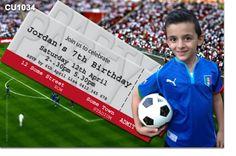 CU1034 - Boys Soccer Ticket Birthday Invitation