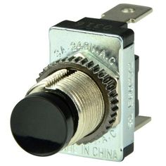 """Black SPST Momentary Contact Switch - Off/(On) Single pole, single throw momentary switch turns one circuit on and off. Compact black push button switch can be used for horn, starter, and other momentary applications. Features: Nominal voltage is 12V/24V DC Rated for 5A at 12V DC, 5A at 24V DC Two 1/4"""" blade terminals Fits panels up to 1/4"""" thick Suitcase Record Player, Electrical Switches, Compact, How To Buy Land, Black Box, Horns, Consumer Electronics, Buttons, Circuit"""