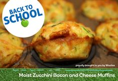 Moist zucchini, bacon and cheese muffins