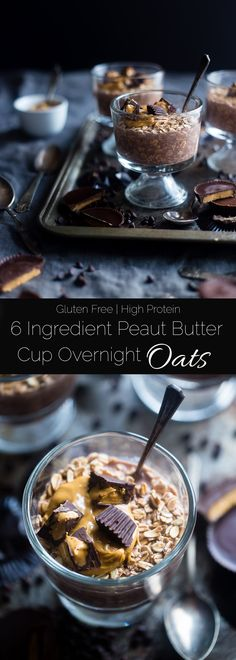 Chocolate Peanut Butter Overnight Oats - These 6-ingredient overnight oats are topped with homemade peanut butter cups! They're an easy, healthy, gluten free and protein-packed make-ahead breakfast! | Foodfaithfitness.com | @FoodFaithFit