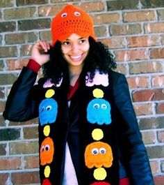 Pac Man scarf and hat