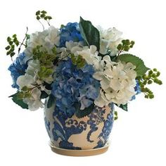 "Featuring faux hydrangeas in a delft-style pot, this lovely arrangement brings a touch of natural style to your decor.    Product: Faux floral arrangementConstruction Material: Silk, plastic and ceramic Color: Blue and white Features: Includes faux hydrangeas Dimensions: 15"" H x 15"" Diameter"
