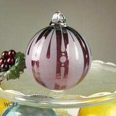 Blown Glass Christmas Ornament Signature Series Retro Aubergine Stripe Etch. $42.00, via Etsy.