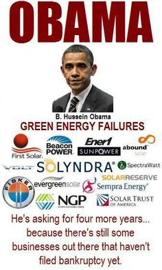 BILLIONS and BILLIONS of TAXPAYER DOLLARS SQUANDERED ON REWARDING OBAMA CAMPAIGN DONORS.  ALL THE COMPANIES ARE NOW BANKRUPT.