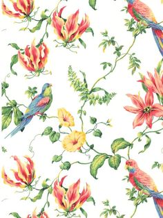 Tropical Floral - Casabella II  - Pattern CJ2801 - York Wallcovering - On sale for the month of March at www.AmericanBlinds.com
